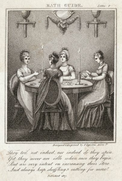 Four ladies of Bath play cards around a table by candlelight