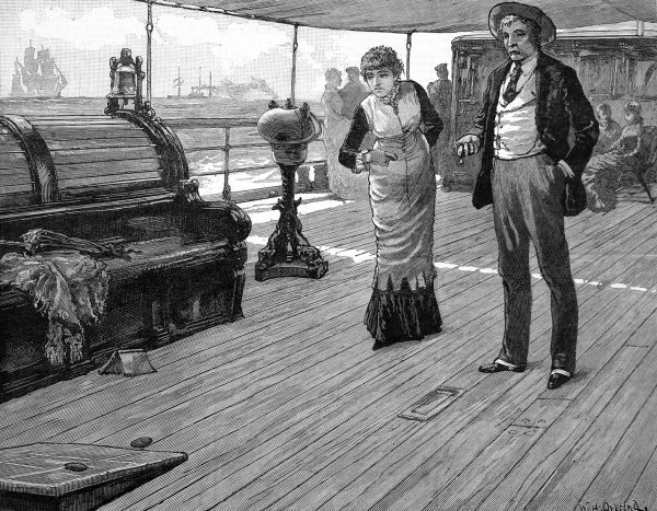 Engraving showing two passengers playing 'Bull' on the deck of a passenger liner. It would appear that the ship had an awning over the deck to provide shade for the passengers. On the left can be seen the ship's bell
