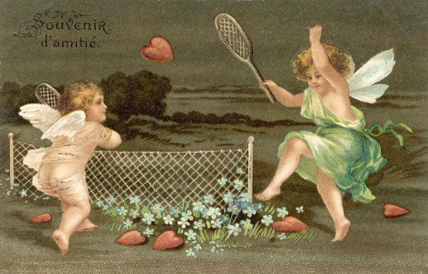 Cupid and a fairy (?) play badminton with hearts for shuttlecocks