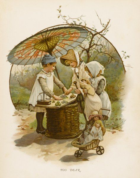 Children playing shop under a large parasol