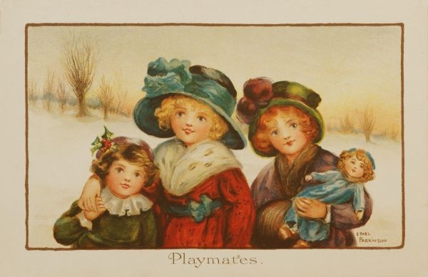 Playmates by Ethel Parkinson -- three children and their doll in a snowy landscape. Date: early 20th century