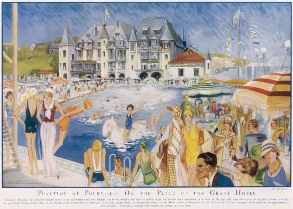 This image depicts a busy scene around the swimming pool of the Grand Hotel on the Normandy coast