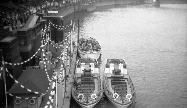 Pleasure boats at Westminster Pier Coronation Derby Day. 6th June 1953