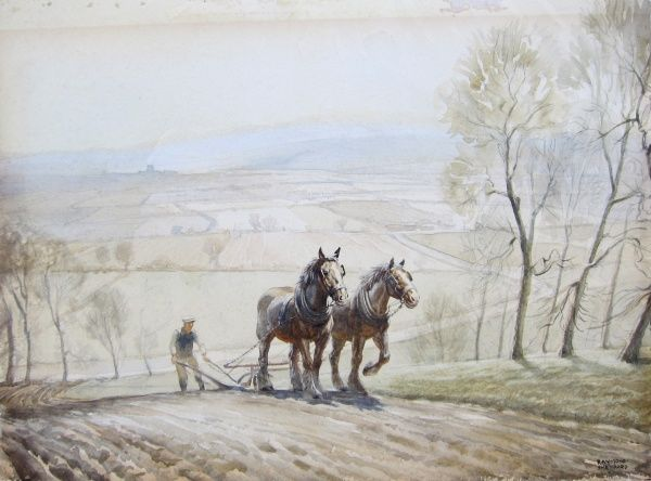 A team of two heavy horses plough the upslope of an English farmer's field, with spectacular rolling countryside disappearing away to a distant horizon