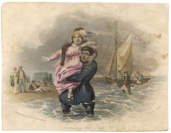A plump holiday-maker is carried ashore after a trip in a Brighton pleasure boat