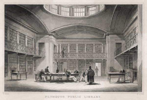 The interior of the public library in Plymouth