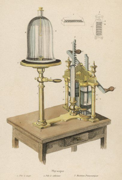 'Machine pneumatique' for pumping air out of a glass dome to create a vacuum