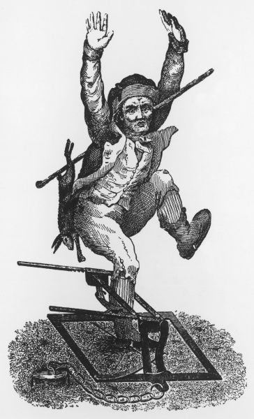 A poacher, with a rabbit he has caught over his back, is himself caught in a man-trap