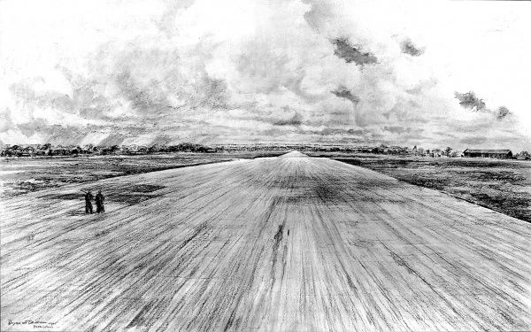 Drawing showing the huge deserted runway of Podlington airfield; formerly used by the US Eighth Air Force as a base for their raids on Germany, 1945. At the end of the Second World War in Europe, many airfields in Britain became redundant
