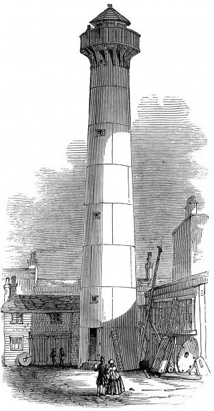 Engraving of a lighthouse intended for the Point de Galle, Ceylon (Sri Lanka). The lighthouse was built out of cast-iron plates, secured by nuts, bolts and iron cement. Prior to transport to Ceylon, it was erected on the site of it's builders, Messrs