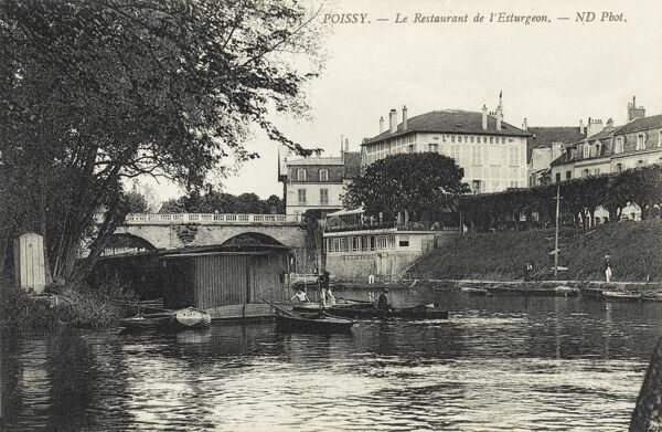 Poissy on the Seine - the Restaurant de L'Esturgeon. Close to Paris. A place to eat Sturgeon and the famous Seine Salmon. The last sturgeon was caught there in 1931
