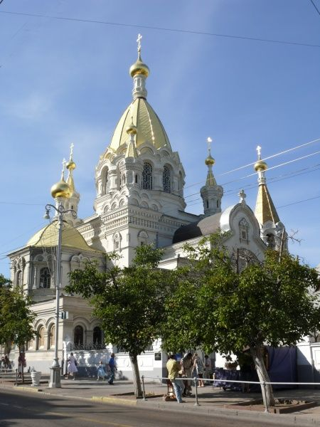 View of Pokrovsky Cathedral in Sevastopol, Ukraine. Building was completed in 1905
