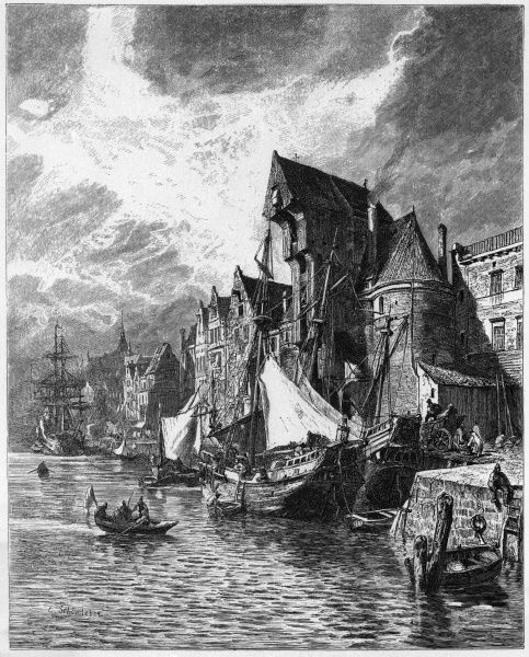 (aka Danzig) view of the harbour in the 16th century, when it was one of the principal ports of the Hanseatic League