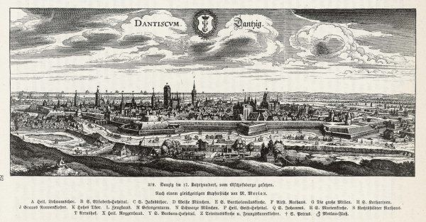 Panaramic view of Gdansk (known formerly as Danzig)