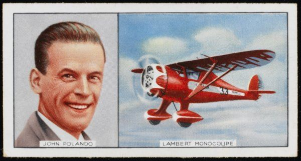 John Polando, American aviator, and his Lambert Monocoupe
