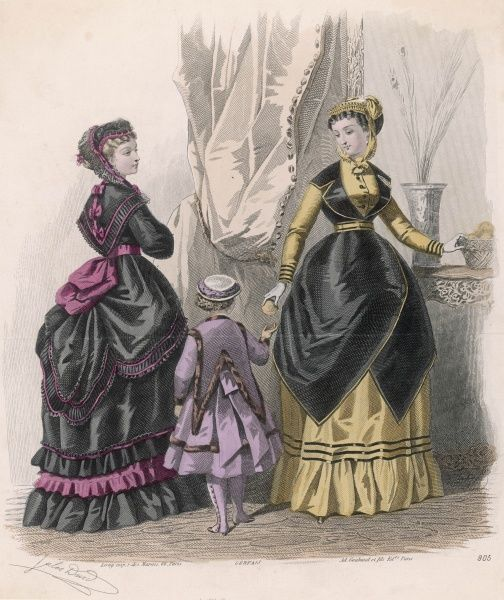Girl: spatterdashes & fur trimmed garment with a cape cut into 2 deep points. Women: black & pink polonaise dress with pelerine; yellow dress, black tunic with pointed hem