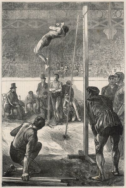 Athletics meeting at the Agricultural Hall, Islington - vaulting the pole