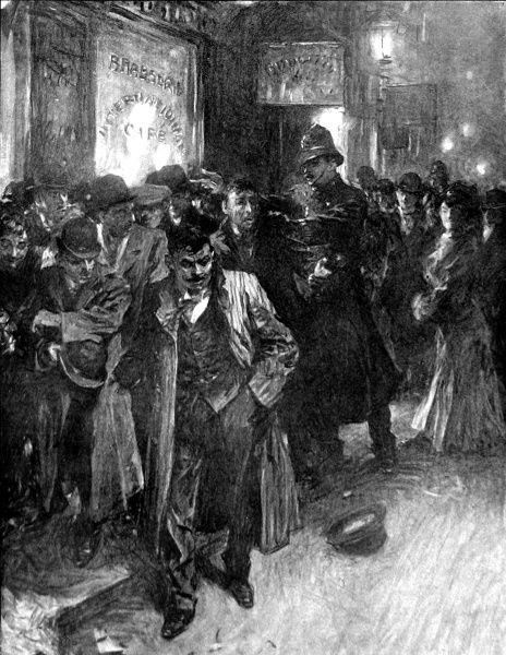 Illustration showing the aftermath of a street brawl between immigrants in Soho, London. The original caption emphasised that although many of these foreigners were hard working handcraftsmen, there was an idle element who caused nothing but trouble