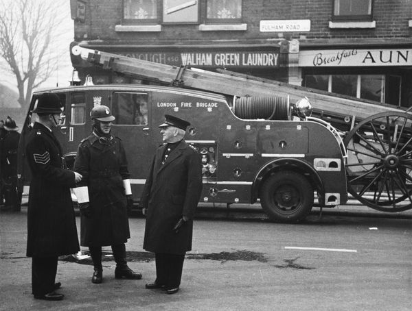 Metropolitan Police and London Fire Brigade attending a fire at Chelsea FC