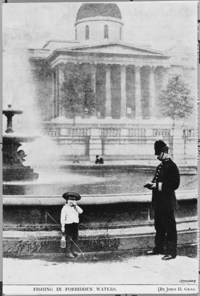 Police officer telling off little boy for fishing in Trafalgar Square fountain making him upset and sad. Metropolitan police London