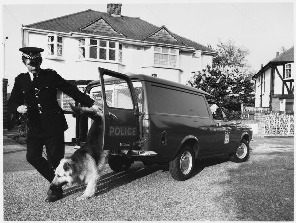 Metropolitan Police dog handler taking his dog out of a police van