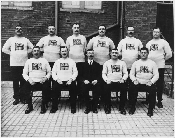 The British Olympic Tug-of-War Team, silver medallists in the 1912 Stockholm Games. All team members came from the Metropolitan and City of London Police forces