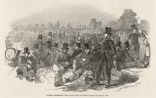 The Chartist scare : police wait in strength in Bonner's Fields, London - but the expected violence doesn't materialise