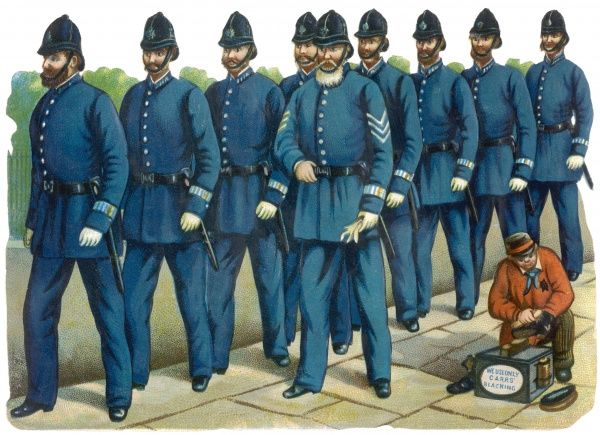 Led by their sergeant, a clutch of constables march to their duties, passing a shoe black who uses only Carr's Blacking - no doubt this is an advertisement ?