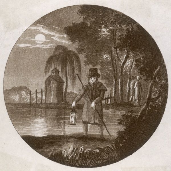Ted Blarney, a night watchman on his rounds; he patrols a riverbank. At the time, the night watchmen were the only public policing body in London