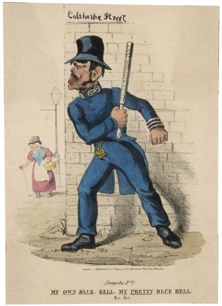 A policeman waits behind a wall ready to ambush with his truncheon