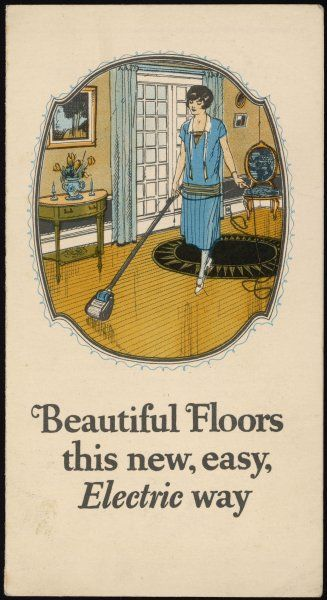 A housewife uses her Johnson's Wax Electric Floor Polisher