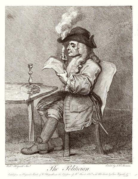 A short-sighted politician is so caught up in his newspaper he does not realise that his candle has set fire to the brim of his tricorne hat