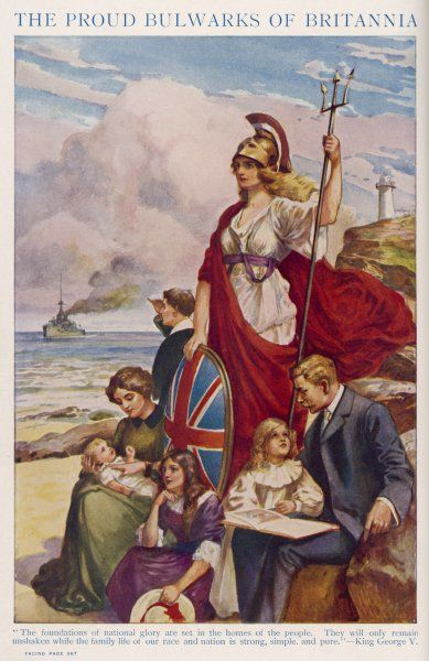 Britannia guards our coasts, protecting a typical English family