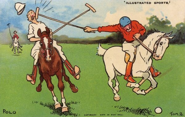 Humorous Polo illustration for a comic postcard by Tom Browne. The gentleman player in the red seemingly needs to work on his mallet control!