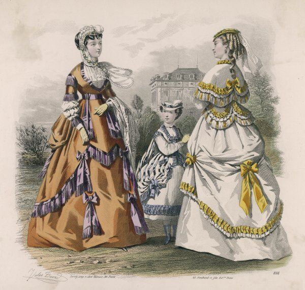 Polonaise dresses: double skirts, chemisettes & low bodices & over-skirts caught up with bows. The girl's dress has a sack back & the over- skirt opens at the front