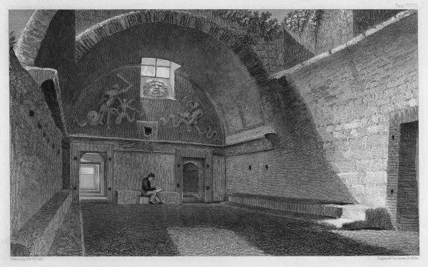 A view of the frigidarium room uncovered almost intact at Pompeii. The frigidarium was the cooling room, containing a cold pool (picina) seen through the door on the right