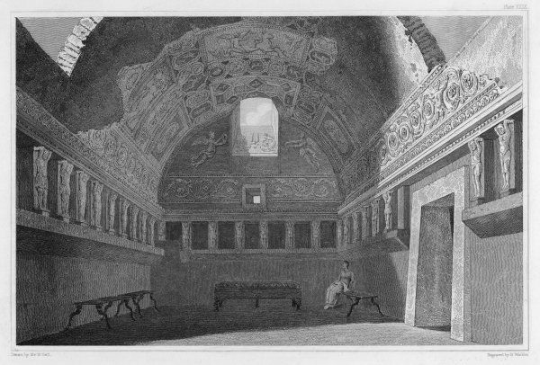 A view of the excavated Tepidarium (warm room) from the Forum baths at Pompeii, which boasts elaborate wall paintings and relief work at the top of the walls
