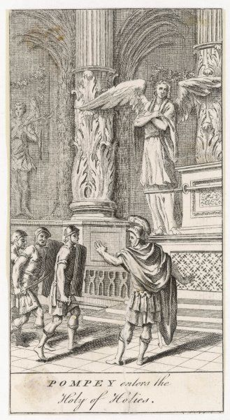 Pompeius enters the Holy of Holies in the temple at Jerusalem, much to the disapproval of the priests