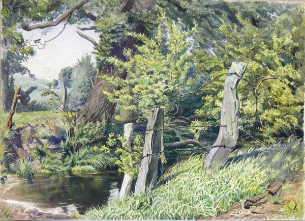 A pond at the edge of woodland near Chiselhampden, Oxford. Watercolour painting by Raymond Sheppard