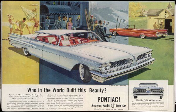 'Vista-lounge interiors with Seats wider than a sofa' in the new wide-track Pontiac (a division of General Motors)