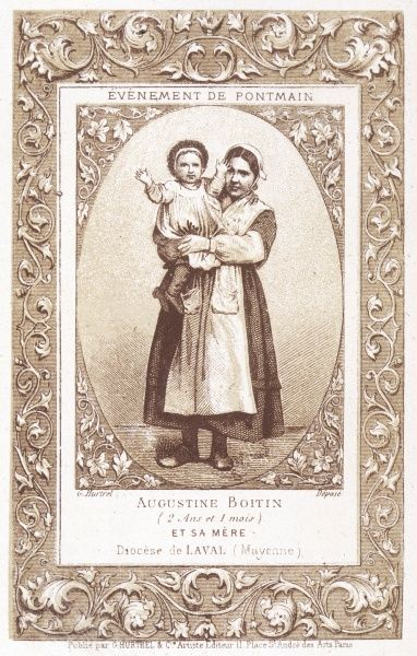 Augustine Boitin, one of the farm children who sees a vision of the Virgin Mary as the Prussian Army sweeps through France ; with her mother