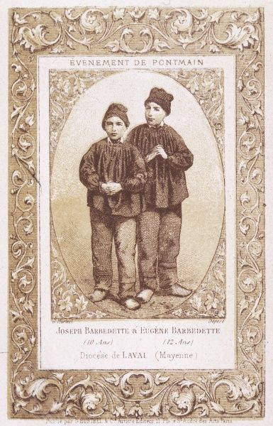 Joseph and Eugene Barbedette, two of the farm children who see a vision of the Virgin Mary at the farm where they live, as the Prussian Army sweeps through France