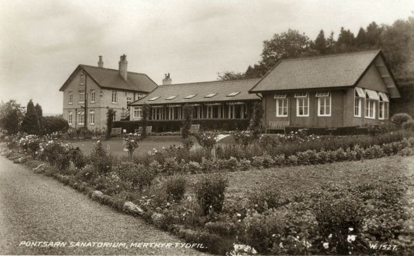 Pontsarn Sanatorium, in the parish of Vaynor, near Merthyr Tydfil, Glamorgan, Wales. The sanatorium was established in 1913 by the Merthyr Tydfil Union for the treatment of tuberculosis patients