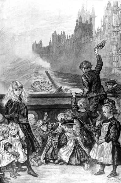 This illustration entitled 'Left Behind' shows poor children on Westminster Bridge watching a steamboat taking their companions for a day's outing. It was drawn from life by Paul Renouard