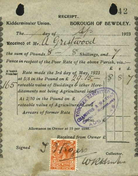 A receipt for a poor rate payment by A Gristwood of the Borough of Bewdley to the Kidderminster Union in September 1923. The Union's operation was financed by the poor rate - the forerunner of the council tax - paid by each householder