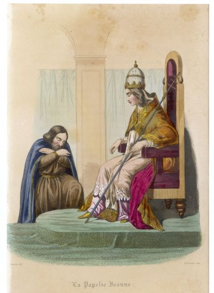 Pope Joan or Joanna, a legendary female pope, thought to have reigned for a time during the Middle Ages, but probably a fabrication, as there is no contemporary evidence
