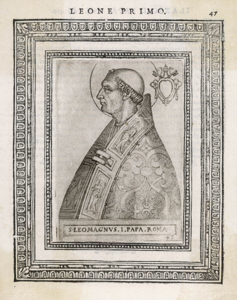 POPE LEO I 'The Great' pope and saint opposed heretics, menaced by Attila the Hun