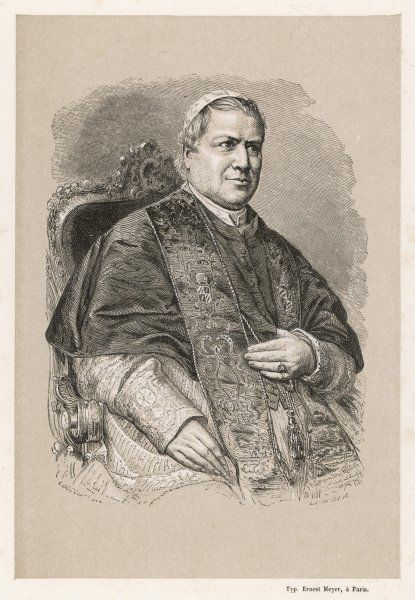POPE PIUS IX (Conde Giovanni Maria Mastai-Ferreti) Declared papal infallibility in 1869 but quarrelled with the Italian government