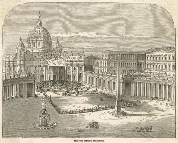 Pope Pius IX blesses the people from beneath a shaded veranda of St. Peters