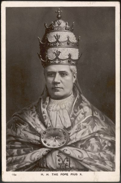 Pope Pius X (Giuseppe Sarto) wears the TIARA, the traditional Triple Crown symbolising his power and authority